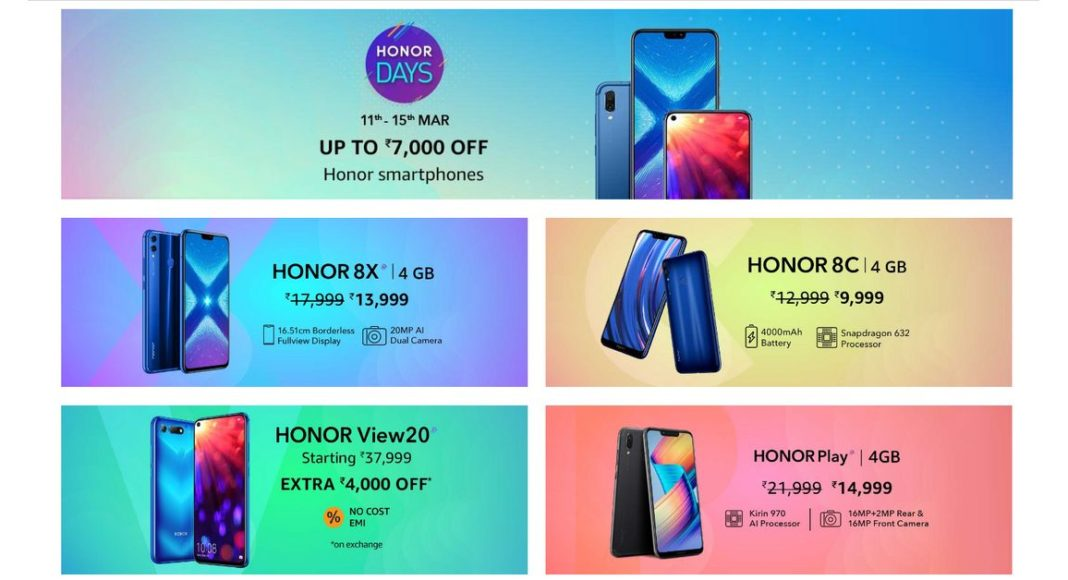 Honor Days sale: Discounts on Honor 8X, Honor 8C, Honor Play, Honor 7C and Honor View 20