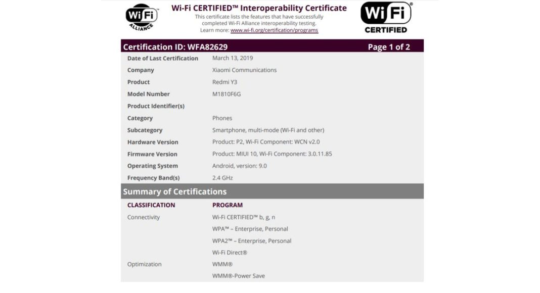 Xiaomi Redmi Y3 spotted at the Wi-Fi Alliance listing