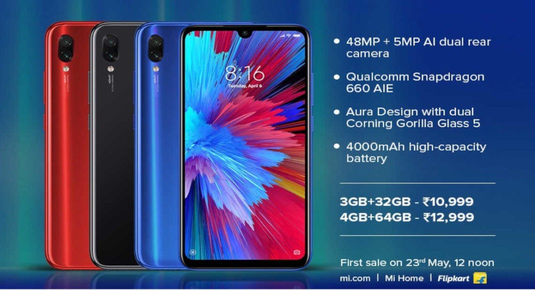 redmi note 7S sale in India