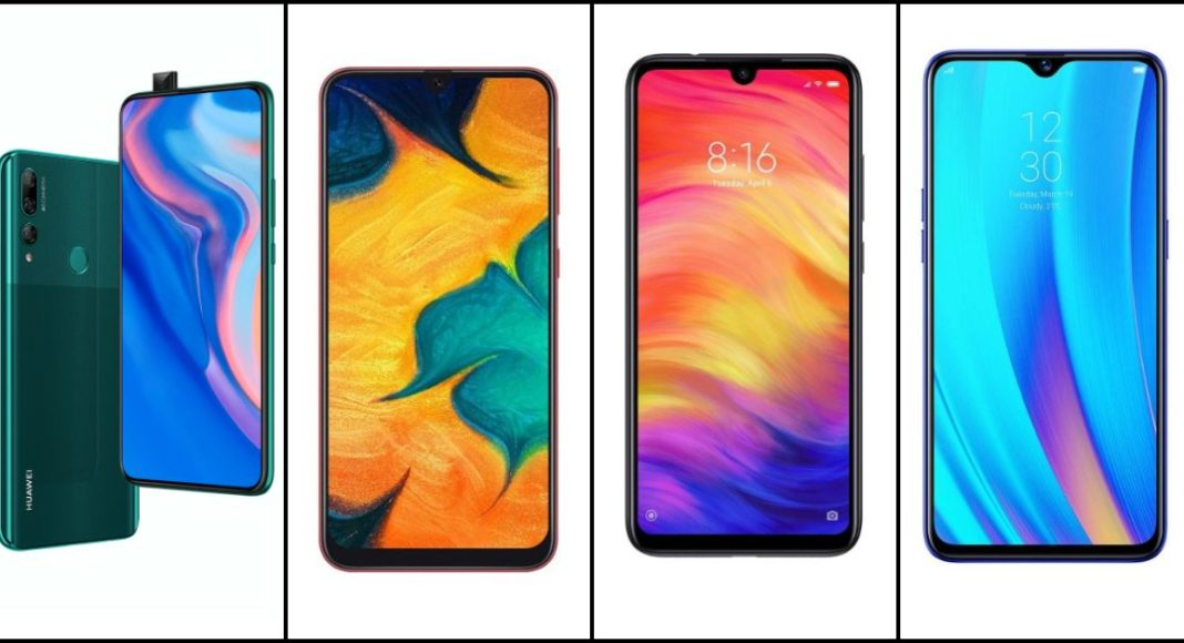 Compare: Huawei Y9 Prime 2019 and Samsung Galaxy A30 and Redmi Note 7 Pro and Realme 3 Pro