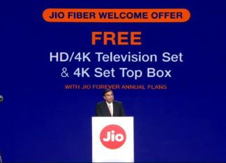 Reliance Jio announced GigaFiber