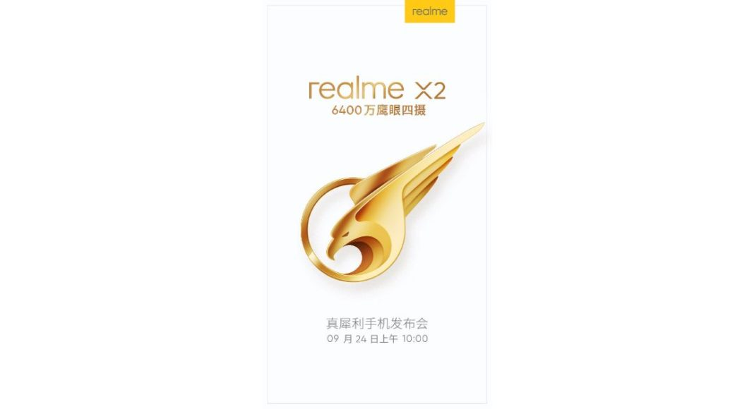 Realme X2 with the 64-megapixel camera set to launch on September 24