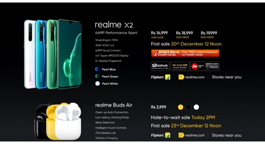 Realme X2 with Qualcomm Snapdragon 730G SoC and Realme Buds Air launched in India