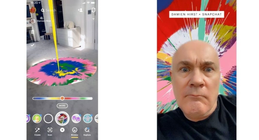Now create and share your version of British artist Damien Hirst spin paintings through the lens of Snapchat's camera