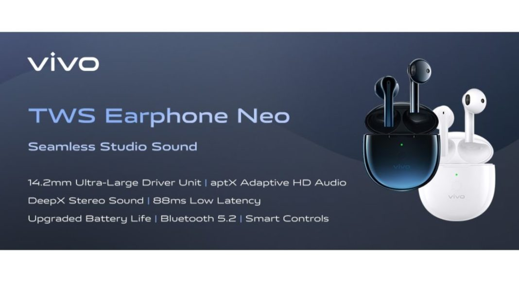 Vivo TWS Neo True Wireless Earphones with Bluetooth 5.2 launched in India