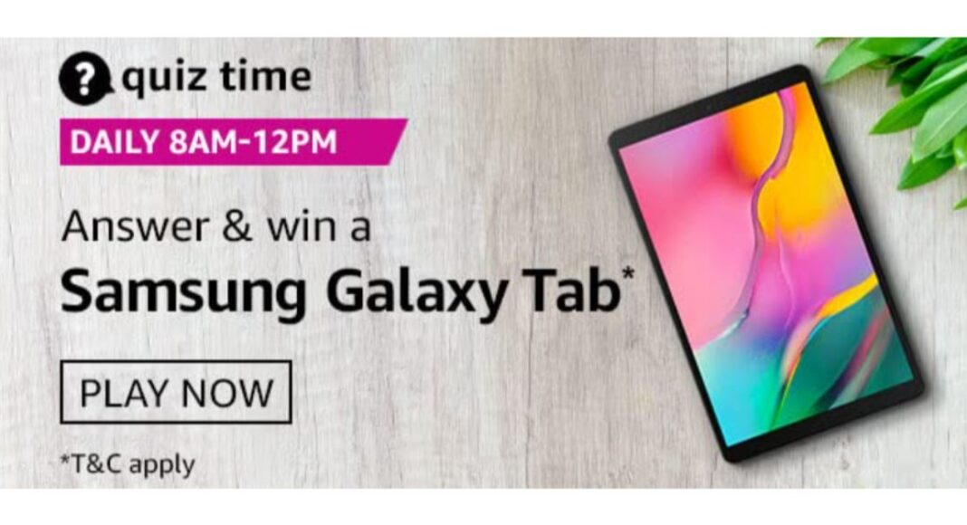 December 6 Amazon Quiz: Participate to win Samsung Galaxy Tab