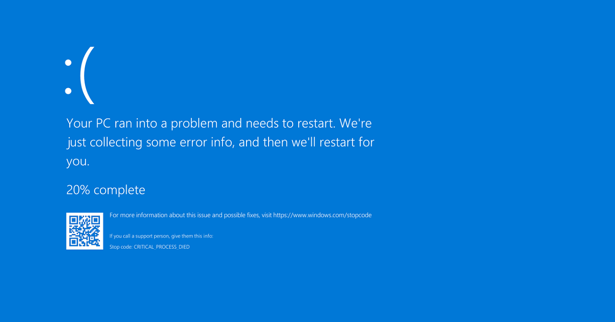 Blue Screen of Death (BSoD) error
