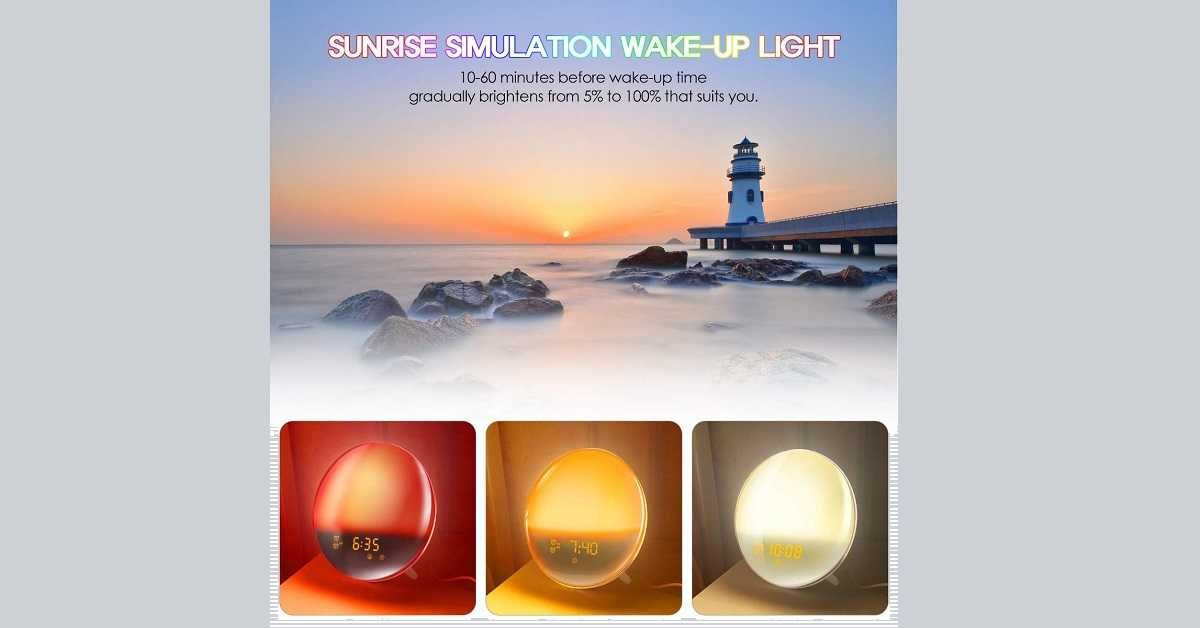 LATME Sunrise Alarm Clock Wake Up Light Compatible with Alexa Google Home